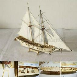 1:100 Scale Wooden Sailboat Ship Kit Home Decoration DIY Mod