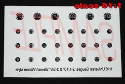 1/16 UNIVERSAL BLACK-BACKGROUND GAUGE SET for 1/16 scale MOD