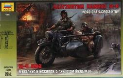 Zvezda 1:35 German Motorcycle R-12 w/ Sidecar and Crew Plast