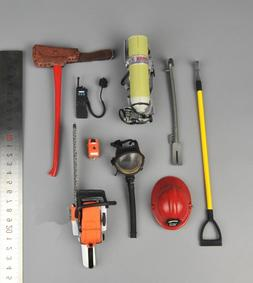 1/6 Scale Fireman Model Firefighter Helmet Mask Toolbox Doll