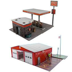 "1:87 Train HO Scale ""Gas Station & Fire Department"" Model Bu"
