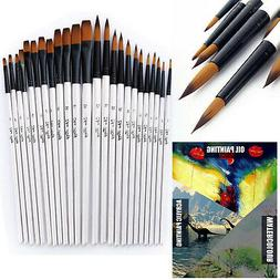 12 Artist Paint Brushes Set Acrylic Oil Watercolour Painting