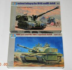 2 TRUMPETER Model Kits British Tanks AS-90 Howitzer & Challe