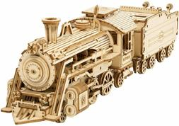 ROKR 3D Puzzles for Adults Wooden Toy Train Models Kits to B