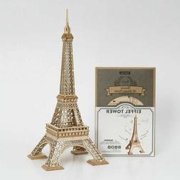 Robotime 3D Wooden Puzzle Eiffel Tower Model Kits DIY Toy Gi