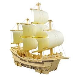 3D Wooden Puzzle Toy Mini Ship Boat Model, Great Gift Educat