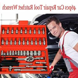 """46pc 1/4"""" Car Repair Tool Set Mixed Tools Screwdriver Sets W"""