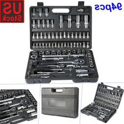 94Pcs Hand Torque Ratchet Wrench Tool Set Metric Socket Bits