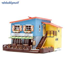 Desktop Wooden Model Kit Cafe in House