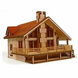 Desktop Wooden Model Kit Garden House A with a Large Deck by