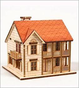 DESKTOP Wooden Model Kit Western House 1 by Young Modeler