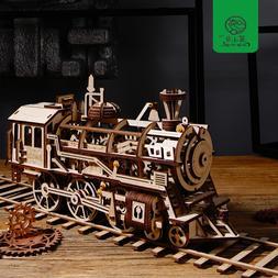 diy movable locomotive by clockwork wooden font