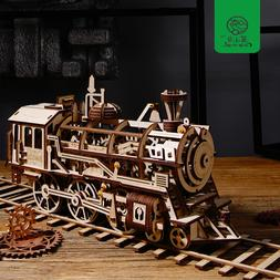 Robud DIY Movable Locomotive by Clockwork Wooden <font><b>Mo