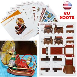DIY Paper Model Kit The Time Machine Handcraft 3D Toy Gift H