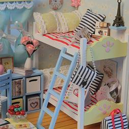 ETbotu Dollhouse Miniature DIY House Kit Wood Cute Room with