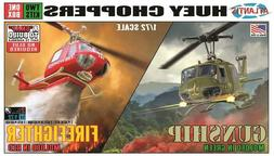 Huey Gunship and Fire Rescue Helicopter Snap 2 pack 1/72 Atl