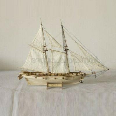 1:100 Wooden Sailboat Ship Kit Decoration DIY Model Boat Gift