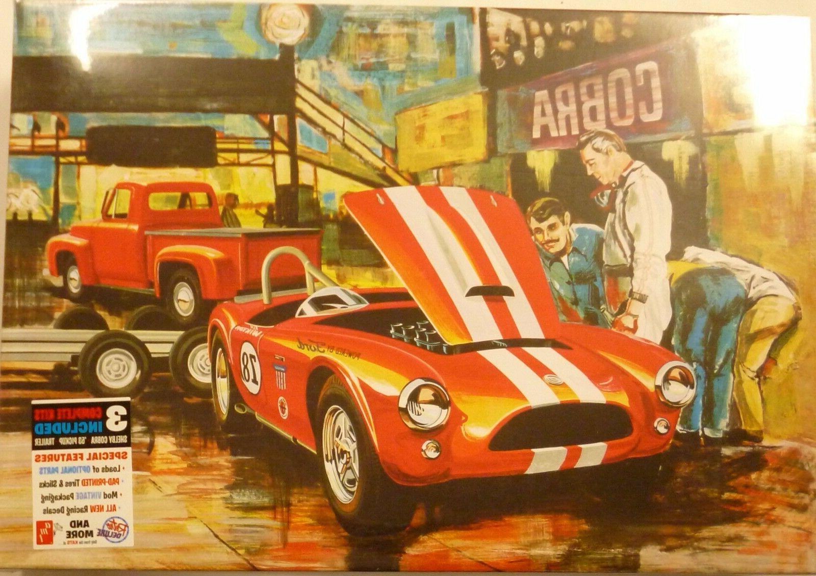 AMT 1073 SHELBY COBRA RACING TEAM W// '53 FORD PICKUP /& TRAILER model kit 1//25