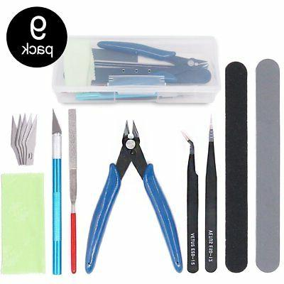 Findfly 9Pcs Gundam Model Tools Kit Hobby Building Tools Cra