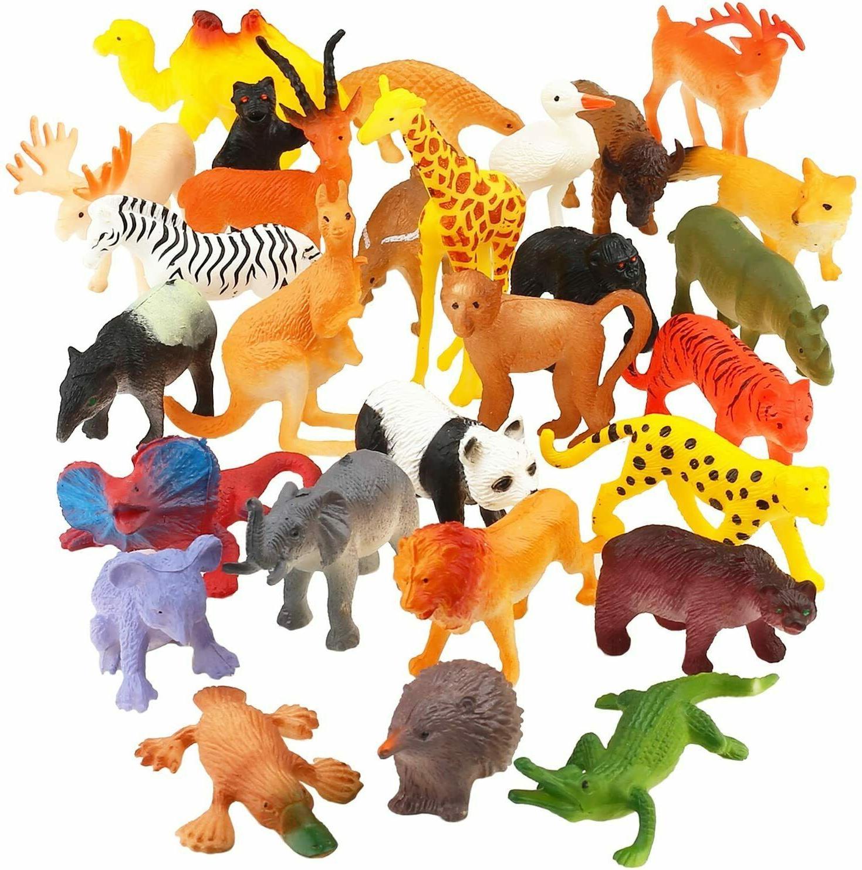 Animal Toy, 32 Pack Mini Wild Plastic Animals Models Toys Ki