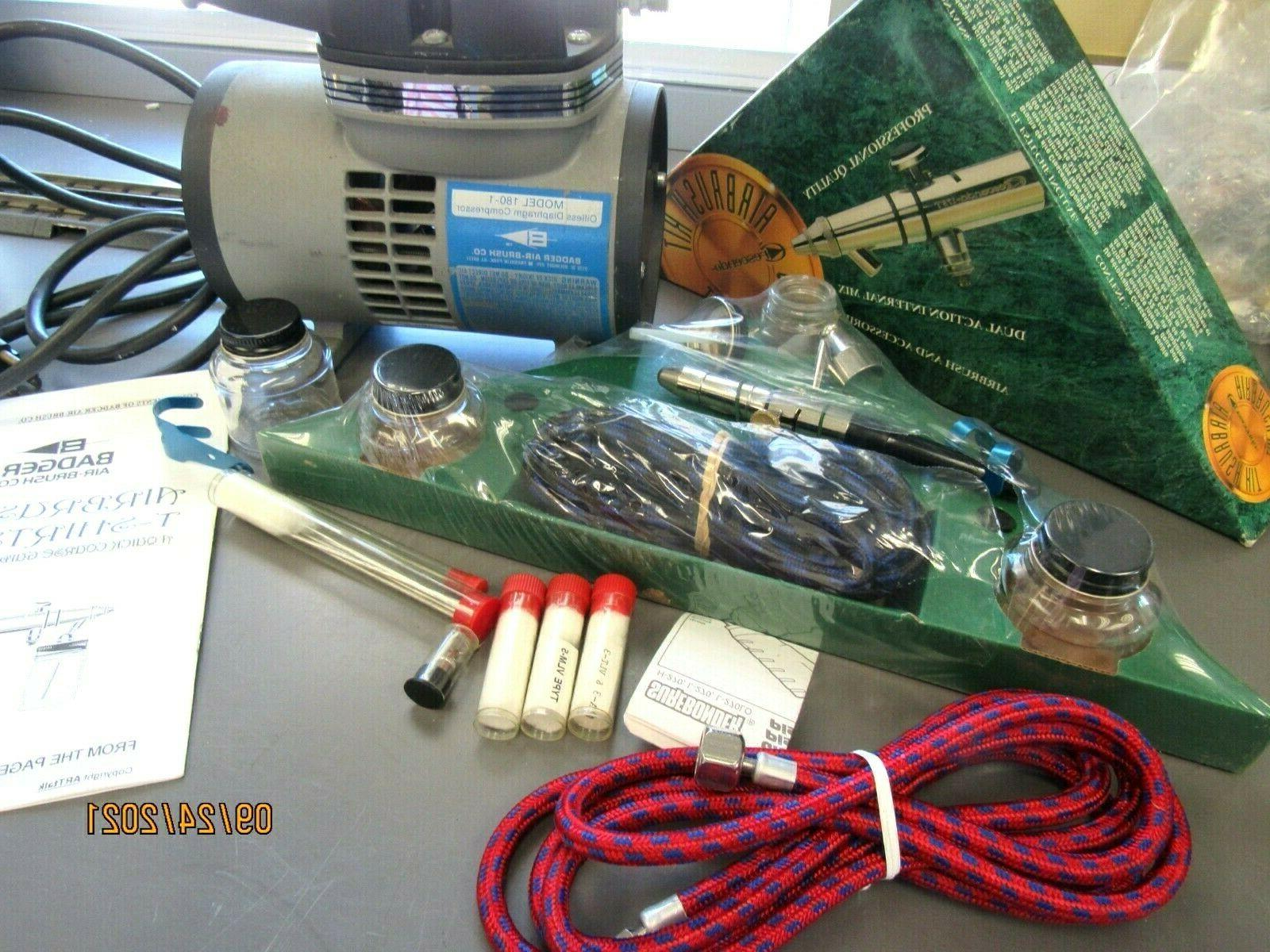 BADGER AIR BRUSH 175-7 KIT*NEW* COMPRESSOR 180-1