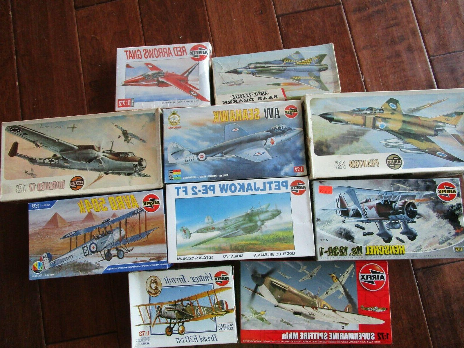 lot of 10 vintage model airplane kits
