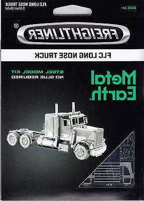 metal earth freightliner long nose truck 3d