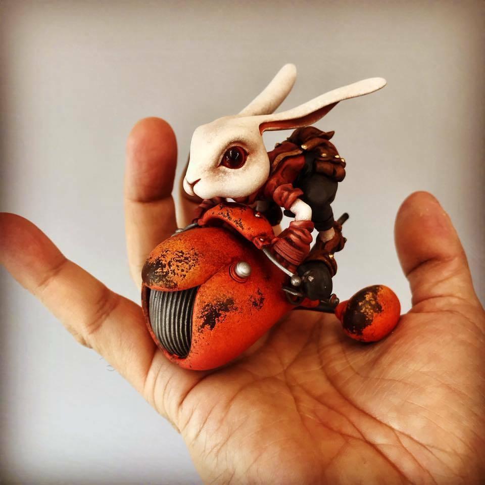 resin figure kit wf2018 rabbit with moto