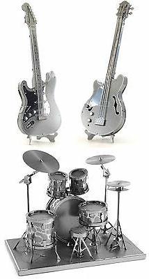 SET of 3 Metal Earth Drum Set Bass & Lead Electric Guitar 3D