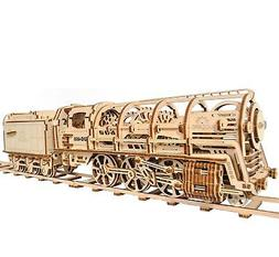 Ugears Locomotive with Tender Model, 3d Puzzle For Adults, W