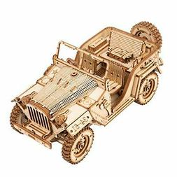 Mechanical Models Kits to Build Army Jeep Wooden Puzzles for