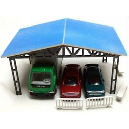 Model Layout Building Parking Shed With 2 Fences 2 Benches H