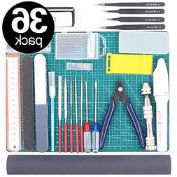 Findfly 36Pcs Modeler Basic Tools Craft Set Hobby Building T