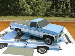 Papercraft 1975 GMC Sierra blue long bed Paper Model Truck E