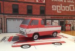 Papercraft Dodge A100 red pickup truck paper model car EZU-m