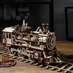ROKR DIY Wooden Locomotive Model Kits Mechanical Toy Gift fo