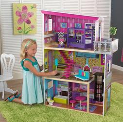 Barbie Dollhouse Kids Girls Tall Playhouse Furniture Wooden