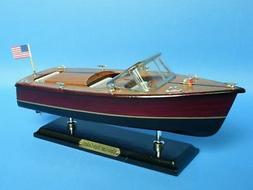 "Wooden Chris Craft Triple Cockpit Model Speedboat 14"" Fully"