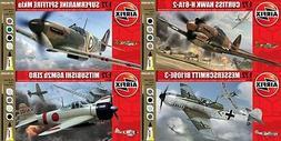 Airfix Zero, Messerschmitt, Spitfire, & Hawk W/ Paint 1:72 M